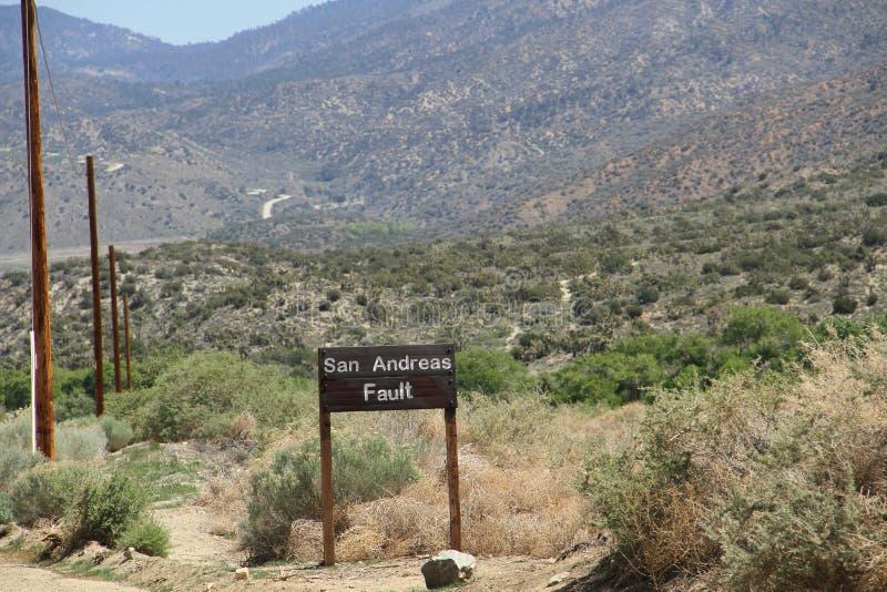 Σημάδι ελαττωμάτων του San Andreas στοκ φωτογραφία με δικαίωμα ελεύθερης χρήσης