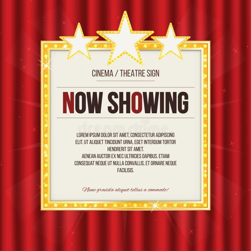 Σημάδι θεάτρων ή σημάδι κινηματογράφων με τα αστέρια στην κόκκινη κουρτίνα Χρυσή αναδρομική πινακίδα διανυσματική απεικόνιση