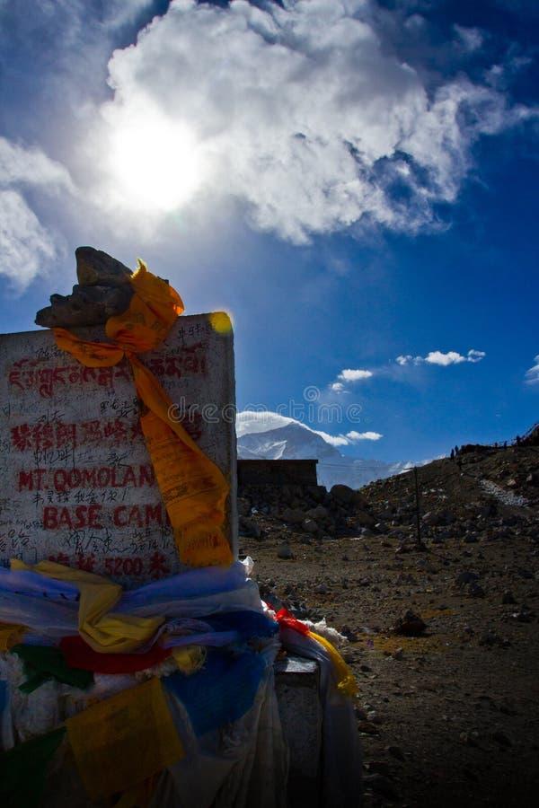 Σημάδι Θιβέτ στρατόπεδων βάσεων ορών Έβερεστ στοκ εικόνες με δικαίωμα ελεύθερης χρήσης
