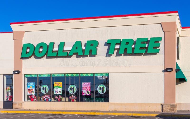 Σημάδι και λογότυπο μαγαζί λιανικής πώλησης δέντρων δολαρίων στοκ εικόνες