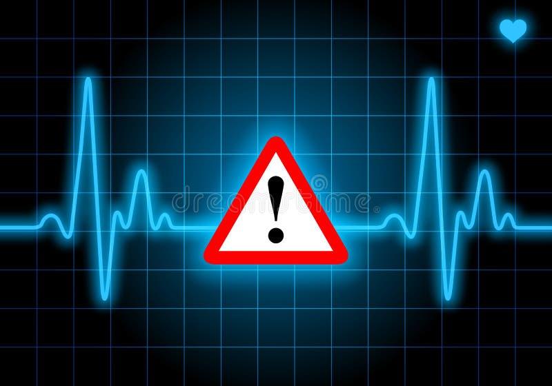 Σημάδι κινδύνου στο μπλε όργανο ελέγχου ποσοστού καρδιών απεικόνιση αποθεμάτων