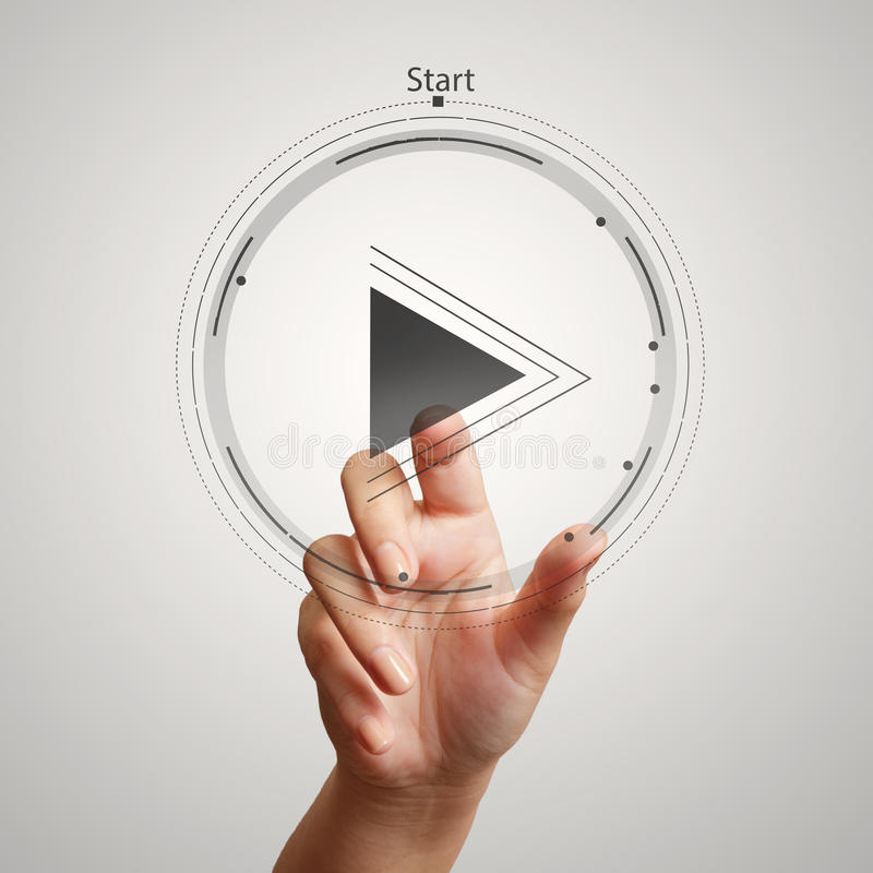 Σημάδι κουμπιών παιχνιδιού Τύπου χεριών για να αρχίσει στοκ εικόνες με δικαίωμα ελεύθερης χρήσης