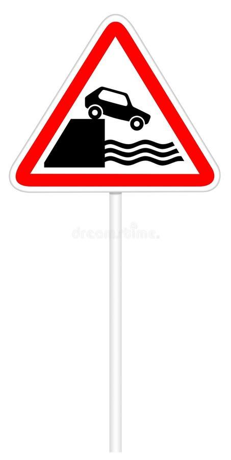 Σημάδι κυκλοφορίας προειδοποίησης - ανάχωμα απεικόνιση αποθεμάτων