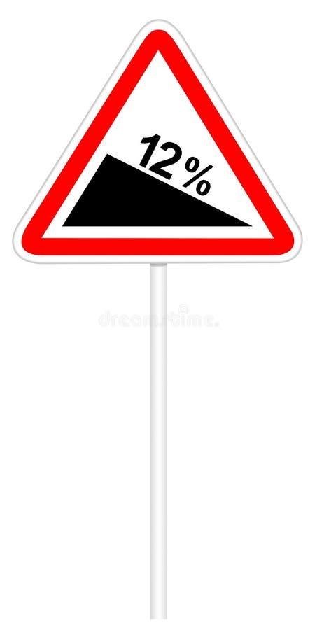 Σημάδι κυκλοφορίας προειδοποίησης - απότομη κάθοδος ελεύθερη απεικόνιση δικαιώματος