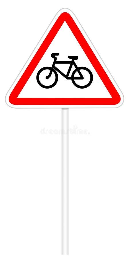 Σημάδι κυκλοφορίας προειδοποίησης - ποδήλατο διανυσματική απεικόνιση