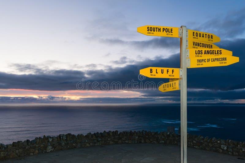 Σημάδι με τις αποστάσεις σε χλμ και το NM από το ακρωτήριο Reinga στοκ εικόνα με δικαίωμα ελεύθερης χρήσης