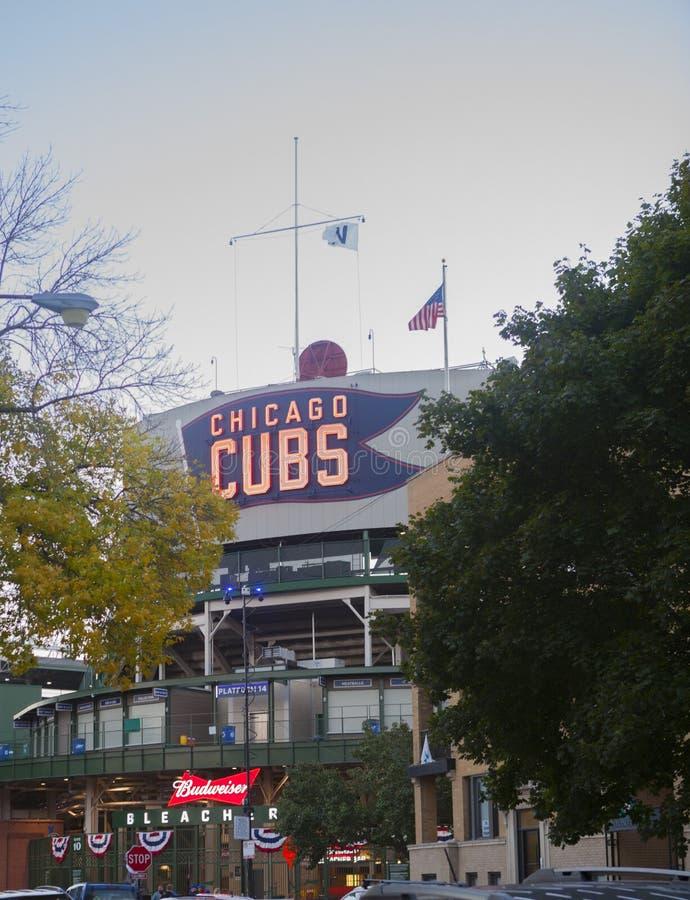 Σημάδι νέου των Chicago Cubs στον τομέα Wrigley στοκ εικόνες με δικαίωμα ελεύθερης χρήσης