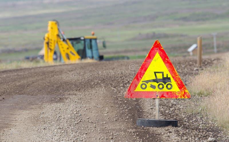 Σημάδι οδικών έργων - Ισλανδία στοκ εικόνα με δικαίωμα ελεύθερης χρήσης