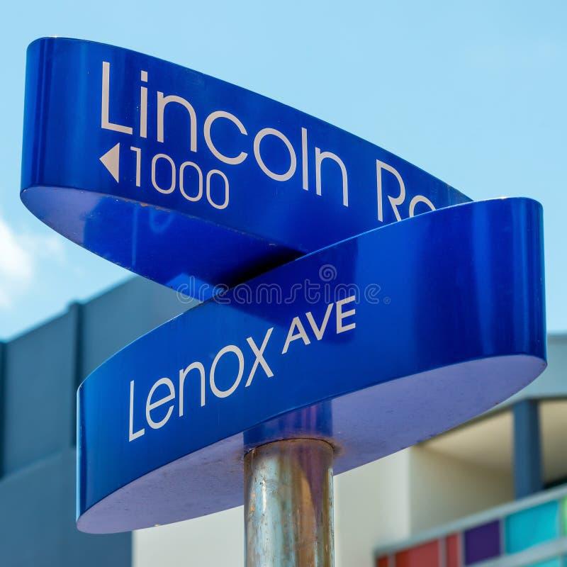 Σημάδι οδών στο δρόμο του Λίνκολν στο Μαϊάμι Μπιτς στοκ φωτογραφία με δικαίωμα ελεύθερης χρήσης
