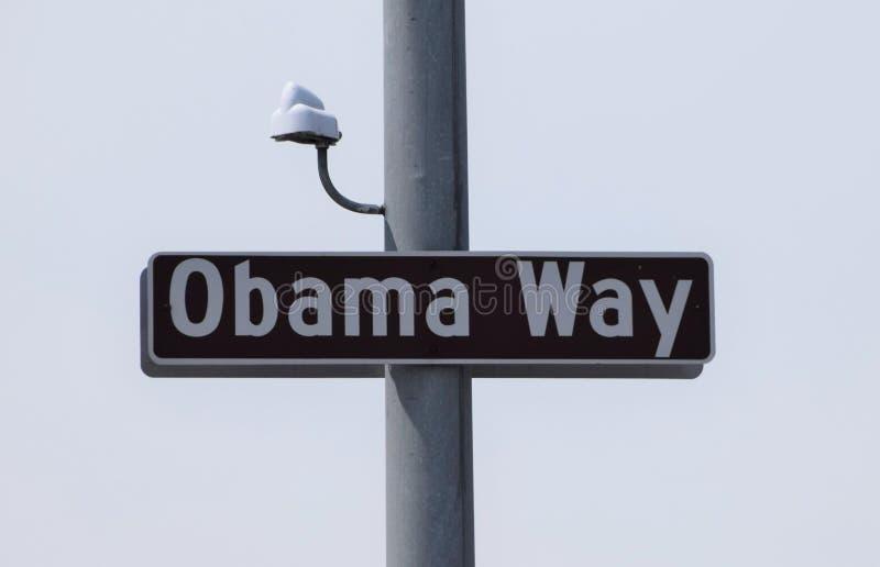 Σημάδι οδών τρόπων Obama με τα κάμερα παρακολούθησης στοκ φωτογραφίες