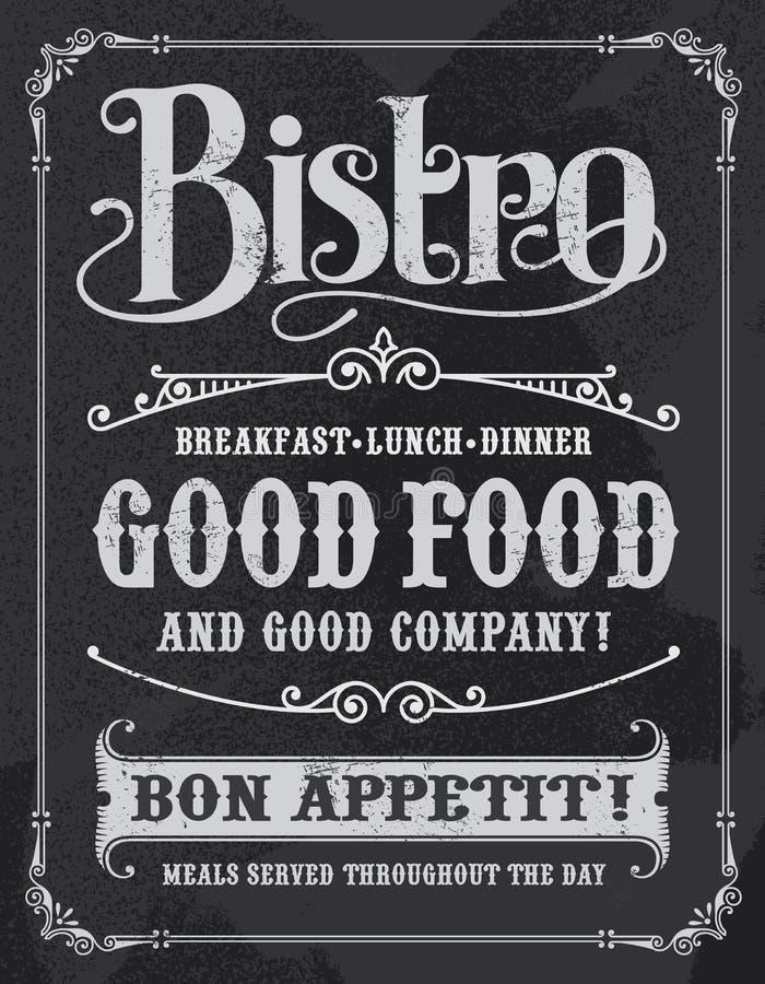 Σημάδι πινάκων κιμωλίας εστιατορίων Bistro απεικόνιση αποθεμάτων