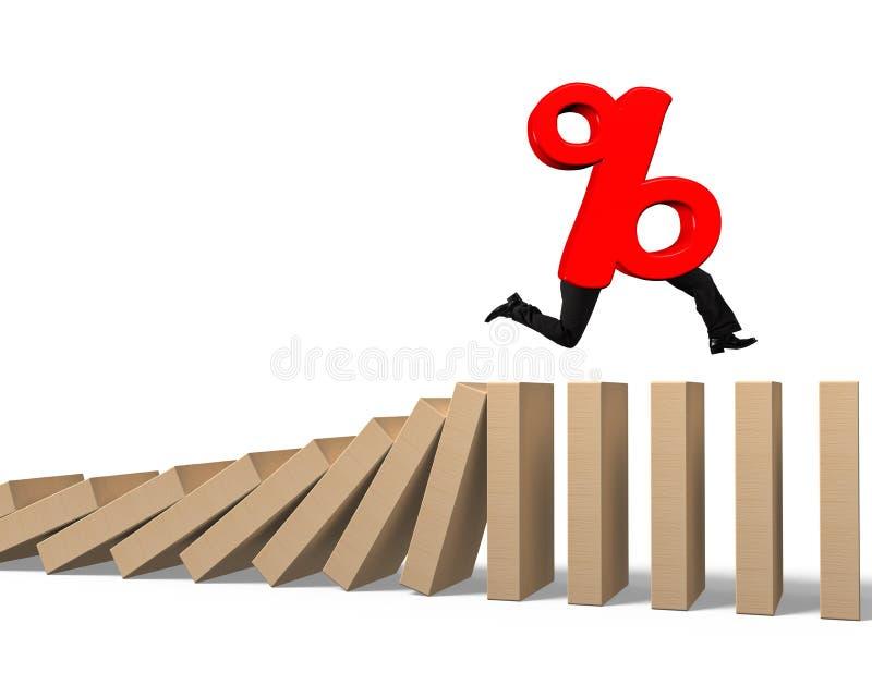 Σημάδι ποσοστού με τα ανθρώπινα πόδια που τρέχουν στο μειωμένο ξύλινο ντόμινο διανυσματική απεικόνιση