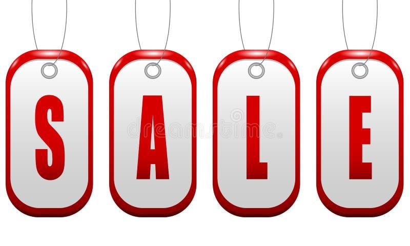 Σημάδι πώλησης με μορφή ενός κόκκινου διακριτικού με τις τρύπες π απεικόνιση αποθεμάτων