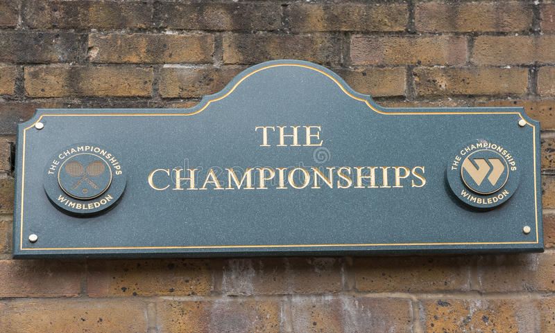 Σημάδι στην είσοδο σε Wimbledon στοκ φωτογραφία