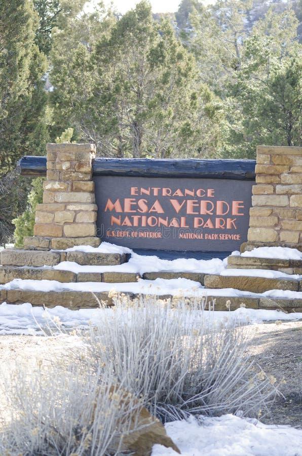 Σημάδι στο εθνικό πάρκο Mesa Verde στοκ εικόνες