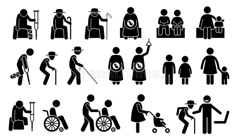 Σημάδι, σύμβολα, εικονίδια, και εικονόγραμμα θέσεων για άτομα χρήζοντα βοήθεια ελεύθερη απεικόνιση δικαιώματος