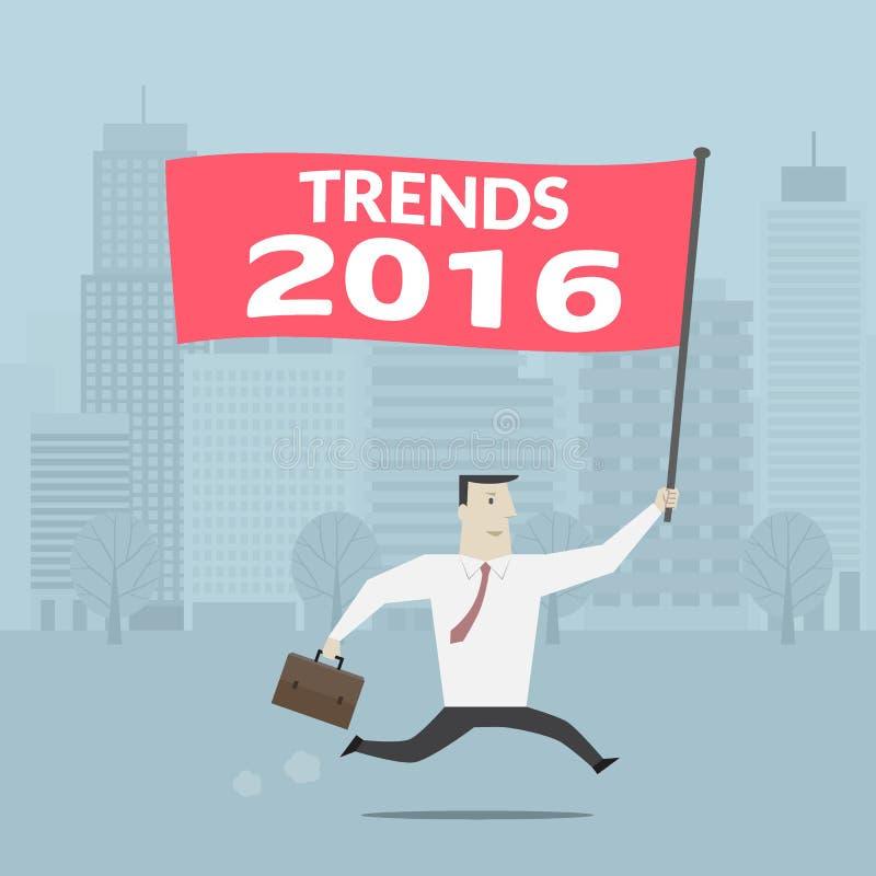 Σημάδι τάσεων 2016 εκμετάλλευσης επιχειρηματιών - διάνυσμα στοκ εικόνα