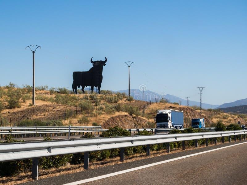 Σημάδι ταύρων της Ισπανίας στον αυτοκινητόδρομο στοκ φωτογραφία με δικαίωμα ελεύθερης χρήσης