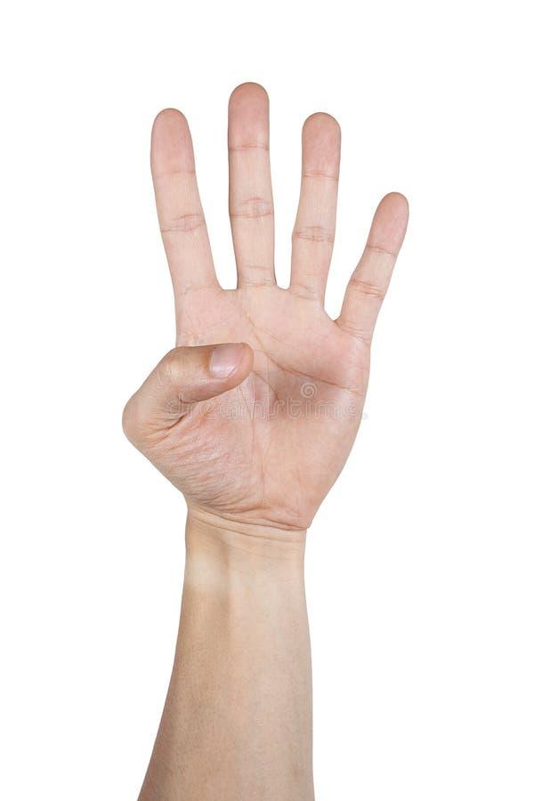 Σημάδι τεσσάρων δάχτυλων με το χέρι που απομονώνεται στο λευκό στοκ εικόνες