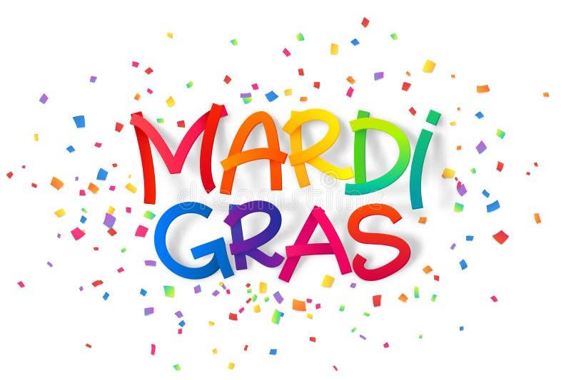 Σημάδι της Mardi Gras χρωμάτων ουράνιων τόξων στο ζωηρόχρωμο υπόβαθρο κομφετί διανυσματική απεικόνιση