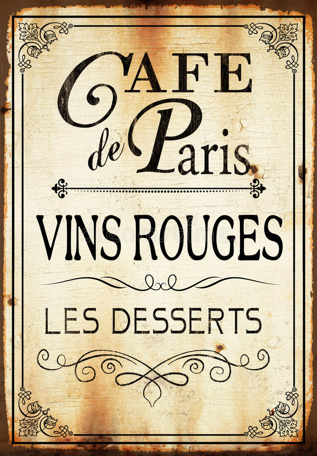 Σημάδι τοίχων καφέδων de Παρίσι ελεύθερη απεικόνιση δικαιώματος