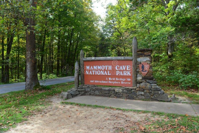Σημάδι του μαμμούθ εθνικού πάρκου σπηλιών, ΗΠΑ στοκ φωτογραφία