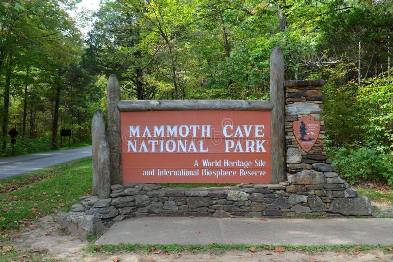 Σημάδι του μαμμούθ εθνικού πάρκου σπηλιών, ΗΠΑ στοκ εικόνα με δικαίωμα ελεύθερης χρήσης