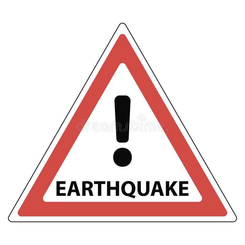 Σημάδι του σεισμού, του κόκκινου σημαδιού θαυμαστικών τριγώνων και του σεισμού κειμένων, απεικόνιση αποθεμάτων