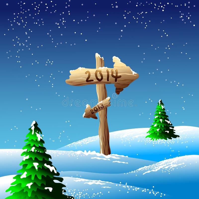 σημάδι του 2014 στα χιονώδη landscapae ελεύθερη απεικόνιση δικαιώματος