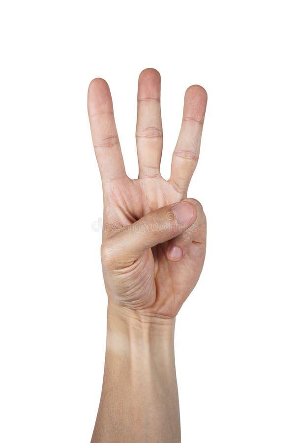 Σημάδι τριών δάχτυλων με το χέρι που απομονώνεται στο λευκό στοκ εικόνα