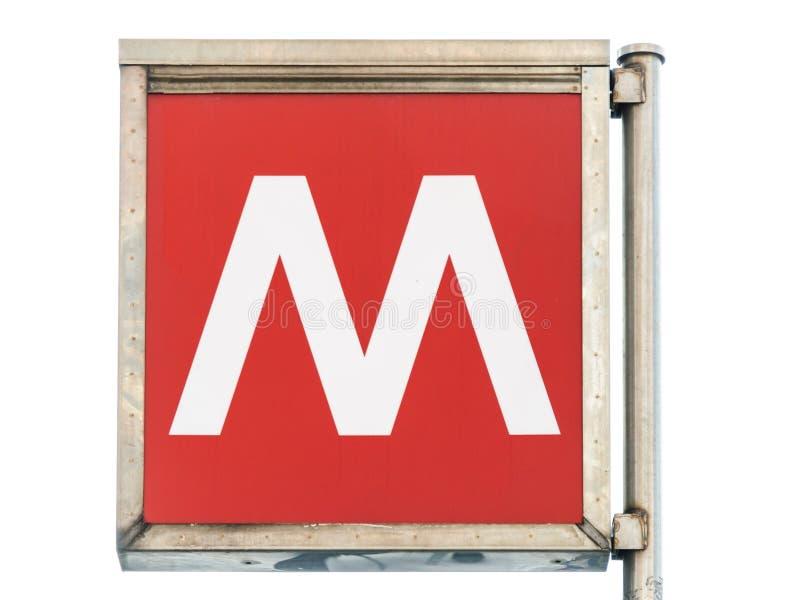 Σημάδι υπογείων στο Μιλάνο στοκ φωτογραφία με δικαίωμα ελεύθερης χρήσης