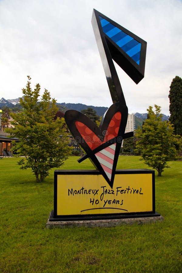 Σημάδι φεστιβάλ του Μοντρέ Jazz στοκ φωτογραφία με δικαίωμα ελεύθερης χρήσης