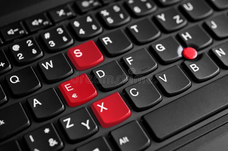 Σημάδι φύλων που τονίζεται στο κόκκινο στο πληκτρολόγιο lap-top στοκ φωτογραφίες