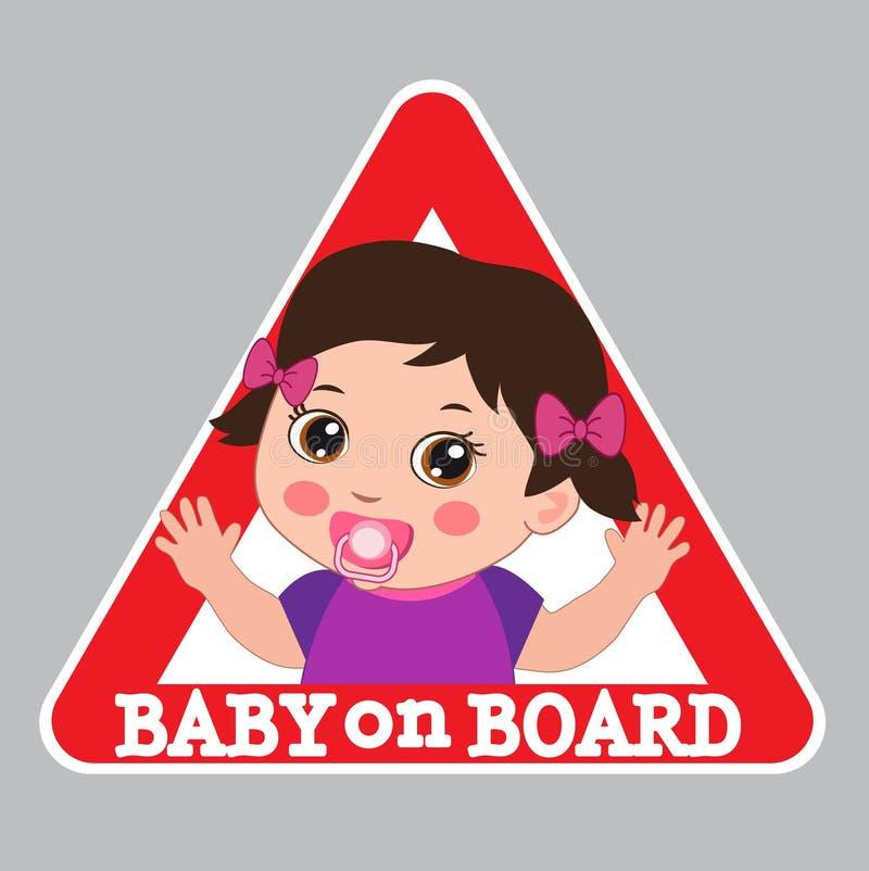 σημάδι χαρτονιών μωρών Προειδοποιητικό σημάδι αυτοκινήτων Κορίτσι στην αυτοκόλλητη ετικέττα ελεύθερη απεικόνιση δικαιώματος