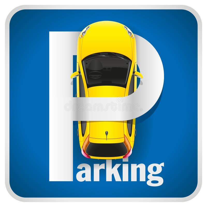 Σημάδι χώρων στάθμευσης αυτοκινήτων απεικόνιση αποθεμάτων