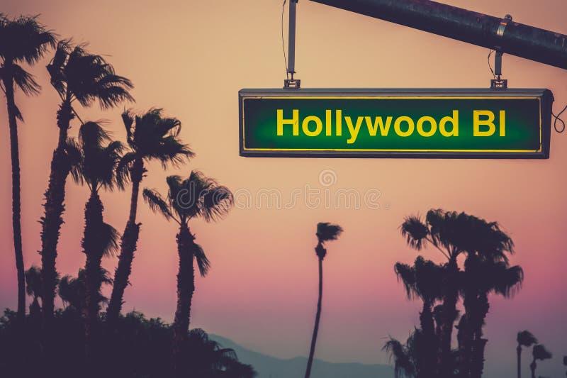 Σημάδι Blvd Hollywood στοκ εικόνα με δικαίωμα ελεύθερης χρήσης