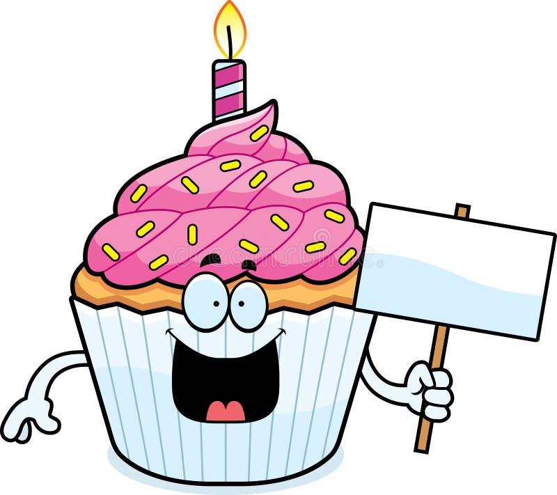 Σημάδι Cupcake γενεθλίων κινούμενων σχεδίων ελεύθερη απεικόνιση δικαιώματος