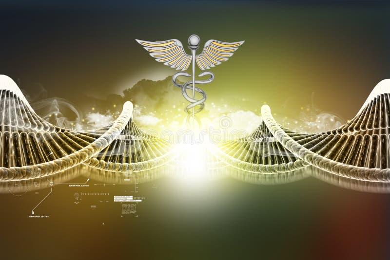 Σημάδι DNA και κηρυκείων ελεύθερη απεικόνιση δικαιώματος