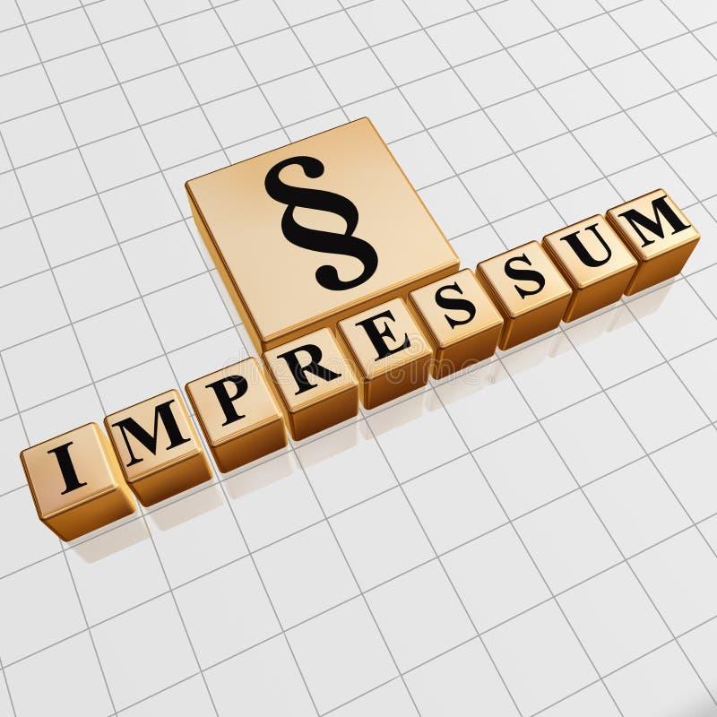 Σημάδι Impressum και παραγράφου στους χρυσούς κύβους στοκ φωτογραφία με δικαίωμα ελεύθερης χρήσης