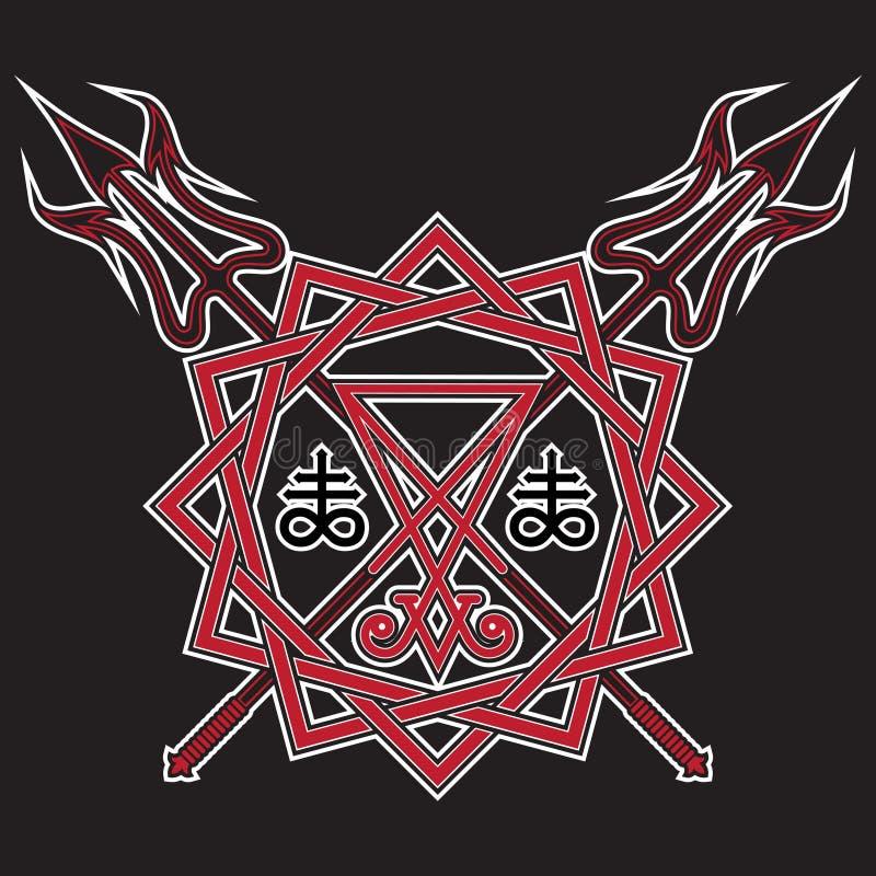 Σημάδι Lucifer, του pentagram και του διασχισμένου διαβόλου ` s pitchfork απεικόνιση αποθεμάτων