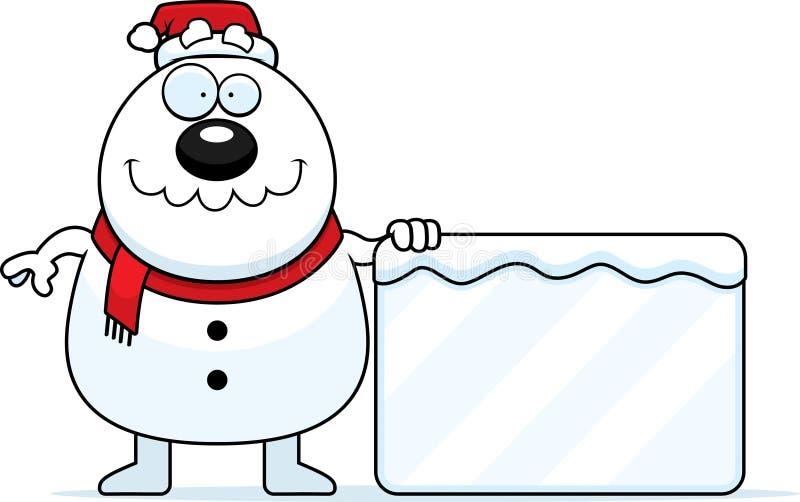 Σημάδι Santa χιονανθρώπων κινούμενων σχεδίων απεικόνιση αποθεμάτων