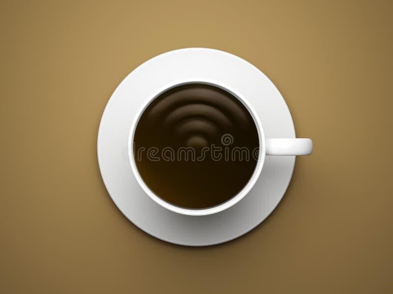 Σημάδι WI-Fi στο φλυτζάνι καφέ στοκ εικόνες