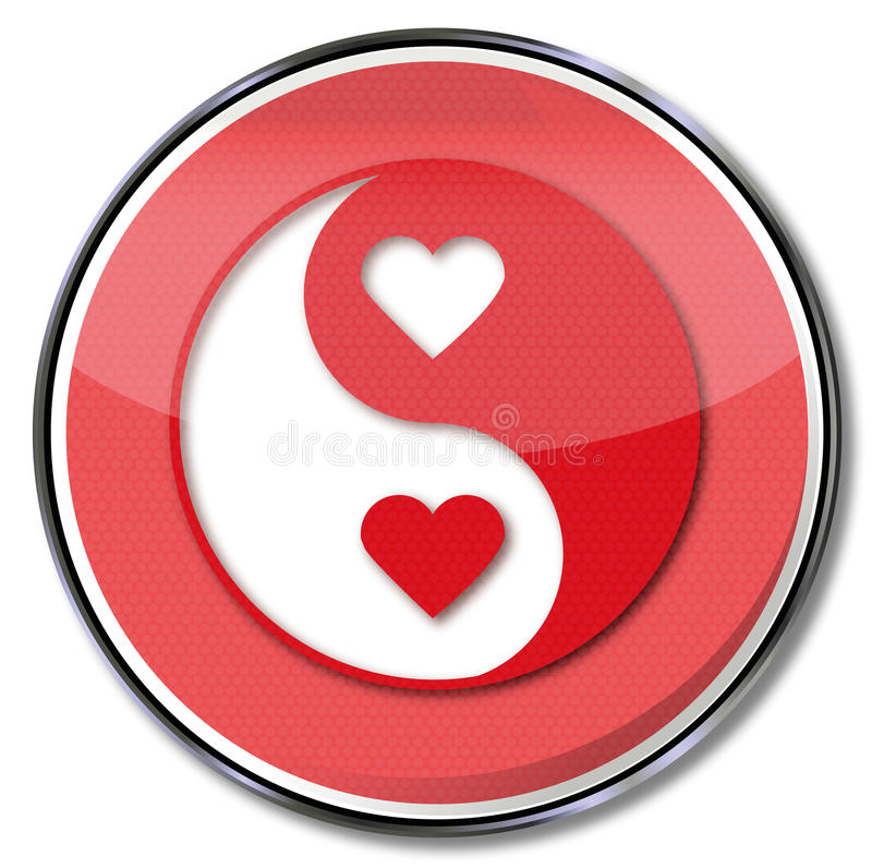 Σημάδι yin και yang της αγάπης διανυσματική απεικόνιση