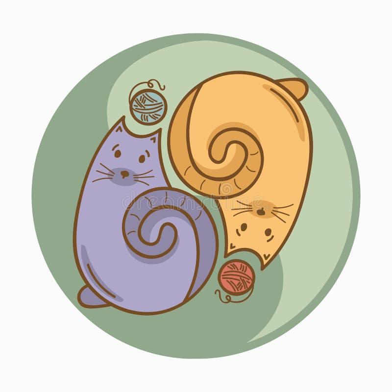 Σημάδι yin-Yang ή σύμβολο με τις γάτες και τα κάρυα νημάτων μαλλιού διανυσματική απεικόνιση