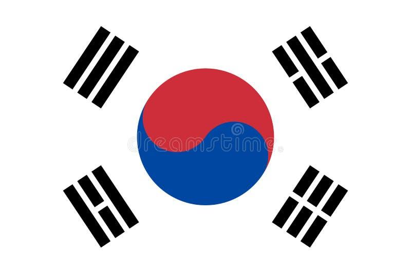 Σημαία έθνους της Νότιας Κορέας Επίσημα χρώματα Σωστή αναλογία διάνυσμα διανυσματική απεικόνιση
