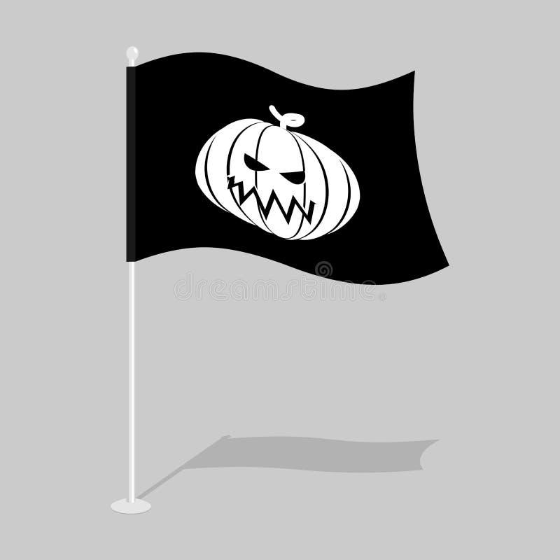Σημαία αποκριές Παραδοσιακή σημαία ανάπτυξης διακοπών Σύμβολο κολοκύθας διανυσματική απεικόνιση