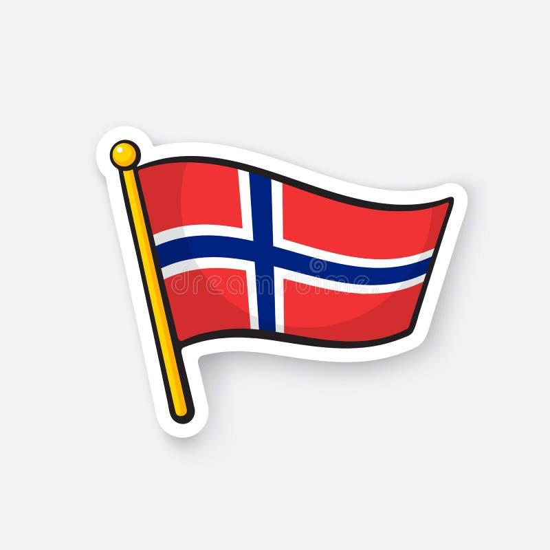 Σημαία αυτοκόλλητων ετικεττών της Νορβηγίας flagstaff διανυσματική απεικόνιση