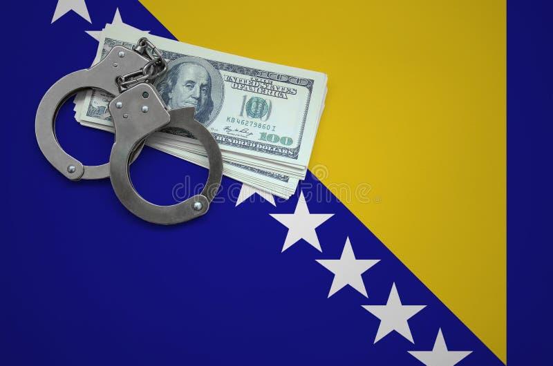 Σημαία Βοσνίας-Ερζεγοβίνης με τις χειροπέδες και μια δέσμη των δολαρίων Η έννοια της παράβασης του νόμου και των εγκλημάτων κλεφτ στοκ φωτογραφίες