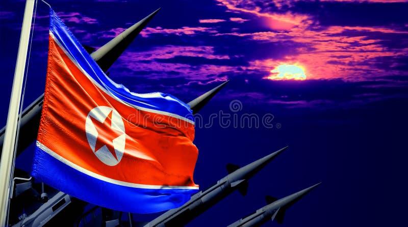 Σημαία Βόρεια Κορεών και πυρηνικά βλήματα στο υπόβαθρο ουρανού ηλιοβασιλέματος στοκ φωτογραφία με δικαίωμα ελεύθερης χρήσης