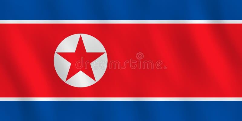 Σημαία Βόρεια Κορεών με την επίδραση κυματισμού, επίσημη αναλογία απεικόνιση αποθεμάτων